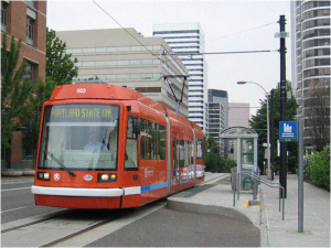 One of Portland's popular streetcars.