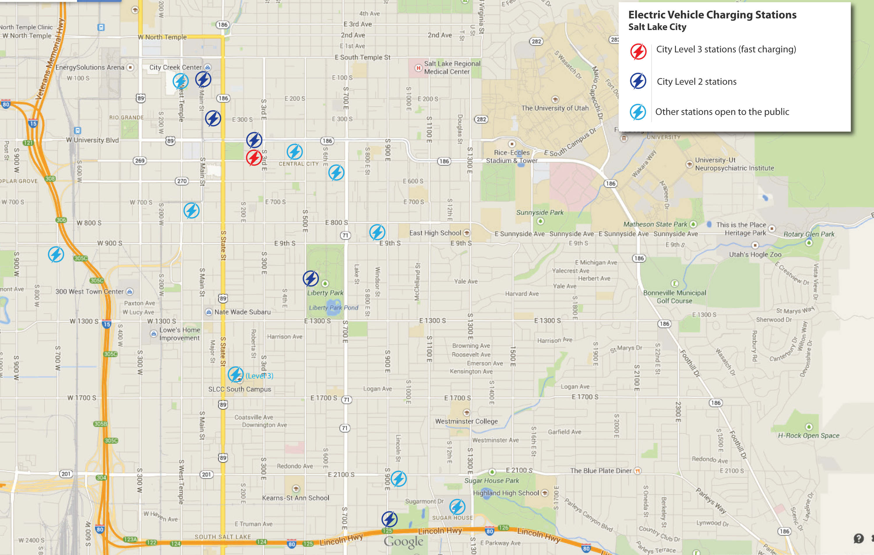 Map of charging stations located in Salt Lake City.