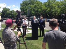 Salt Lake City Mayor Ralph Becker, Cody Steward, Governor Herbert's Energy Advisor and Ted Wilson, Director of UCAIR announce the installation of two new fast charging electric vehicle stations.