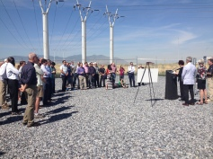 A crowd gathered to celebrate the city's solar projects.
