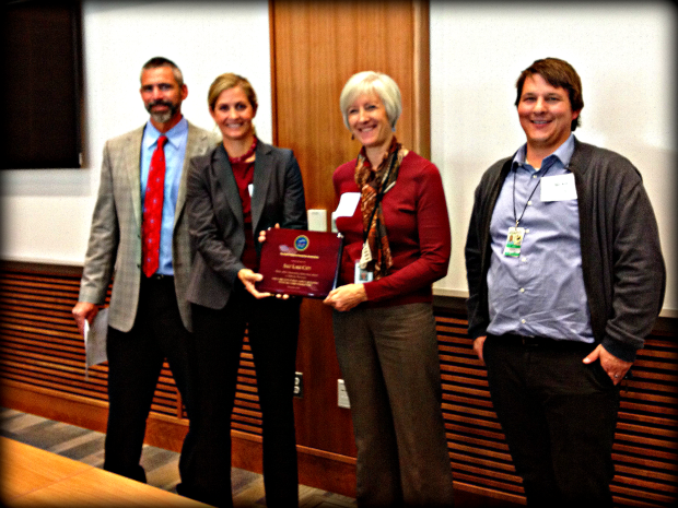 Salt Lake City accepts a 2013 P2 Award for the net zero Public Safety Building.