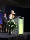 Vicki Bennett accepts her Sustainable Business Leadership Award from Utah Business Magazine.