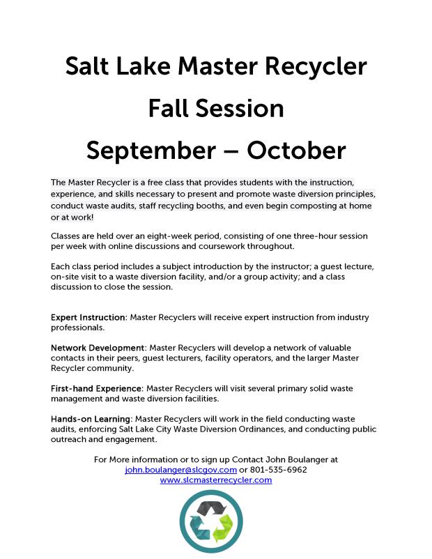 Salt Lake Master Recycler Fall Flyer