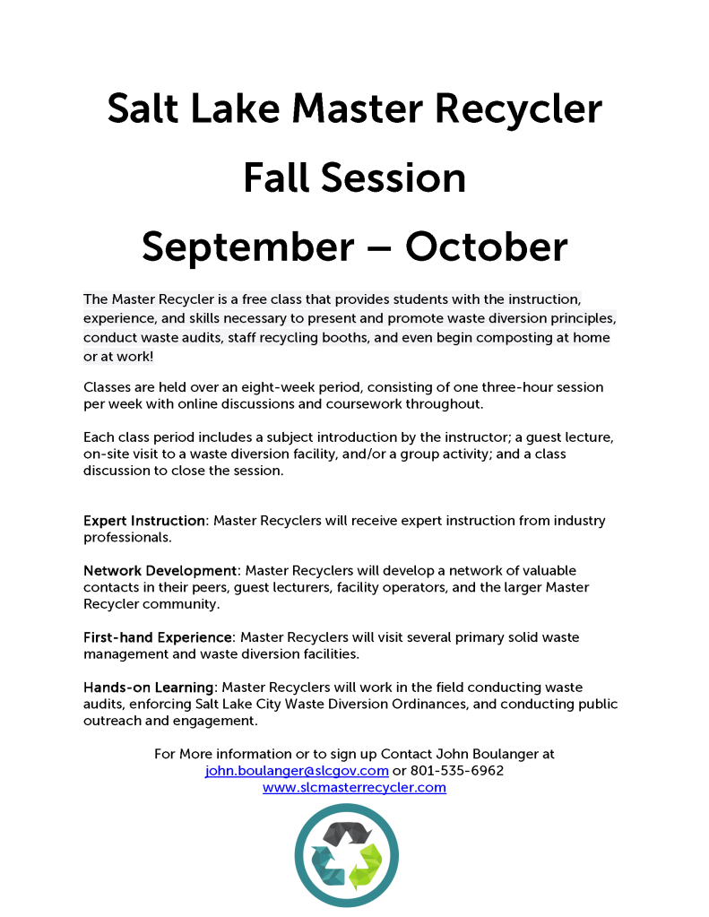 Salt Lake Master Recycler Fall Flyer