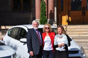 University of Utah President David Pershing, Mayor J. Biskupski, and Utah Clean Energy Executive Director Sarah Wright