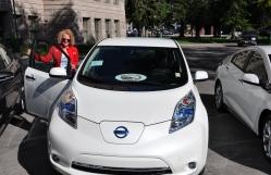 Mayor Biskupski trying out new 2016 EV models.