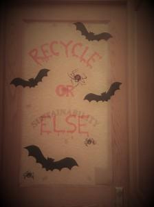 Sustainability Halloween door decoration