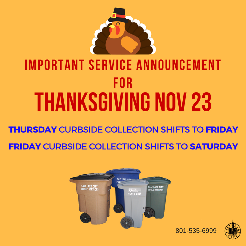 Image describing change in Waste and Recycling collection for Thanksgiving Day
