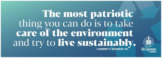 Truck wrap with Robert F. Kennedy Jr. quote: The most patriotic thing you can do is to take care of the environment and try to live sustainably.