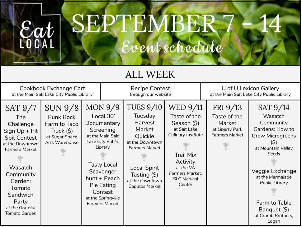 Eat Local Week Schedule.