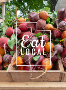 Eat Local logo on image of beets.