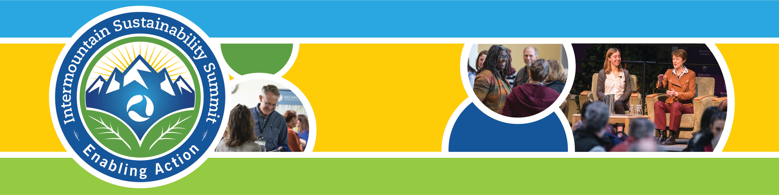 "Intermountain Sustainability Summit logo with slogan ""Enabling Action"" on blue, yellow, and green banner. Banner also features photos of attendees from past summits."