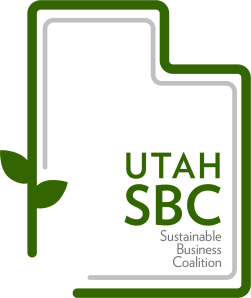 "Utah Sustainable Business Coalition Logo (image is an vine outlining the state of Utah  with the words ""UTAH SBC Sustainable Business Coalition"" in lower right corner of the state.)"