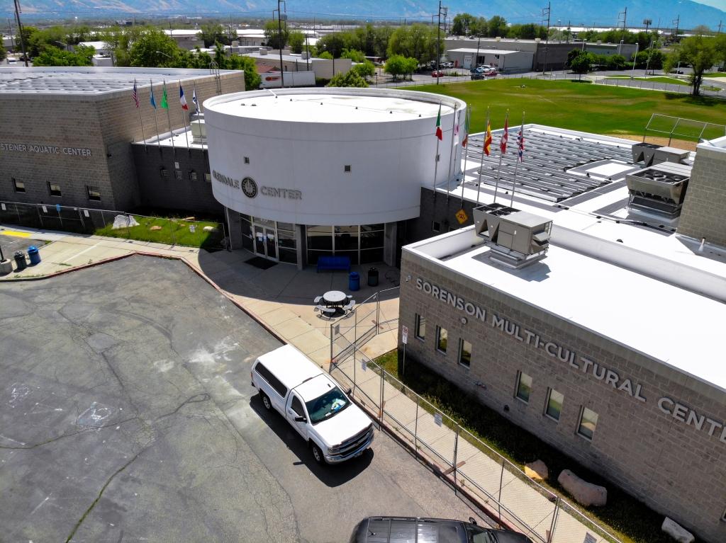 Aerial photo of Sorenson Community Center featuring new solar panels.