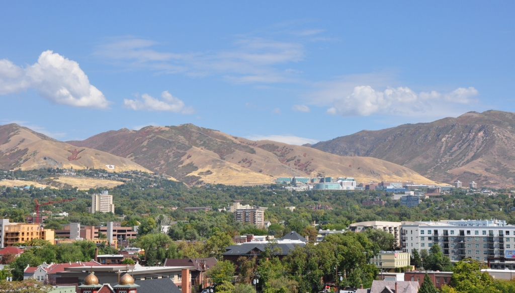 Photo of Salt Lake City looking towards east-bench foothills on sunny day.
