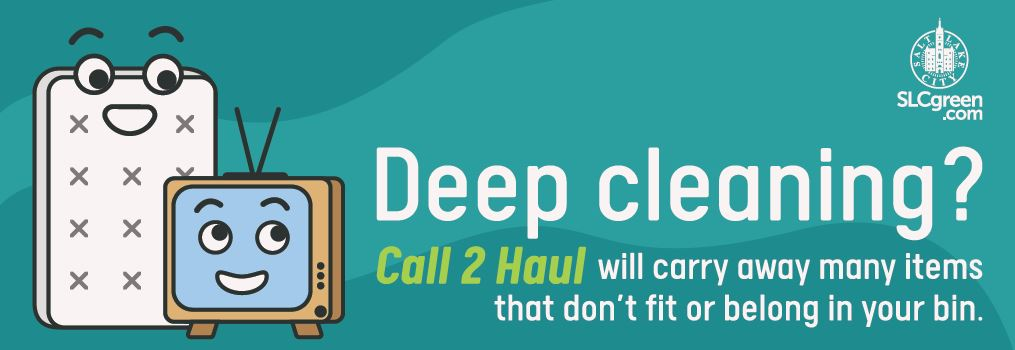 "Call 2 Haul ad featured as a truck wrap for 2020. The graphic has a cartoon of a TV and a mattress both with cartoon faces. Text reads ""Deep Cleaning? Call 2 Haul will carry away many items that don't fit or belong in your bin."" The text is white and green on a teal background. There is an SLCGreen logo in the upper right corner that says SLCGreen.com."