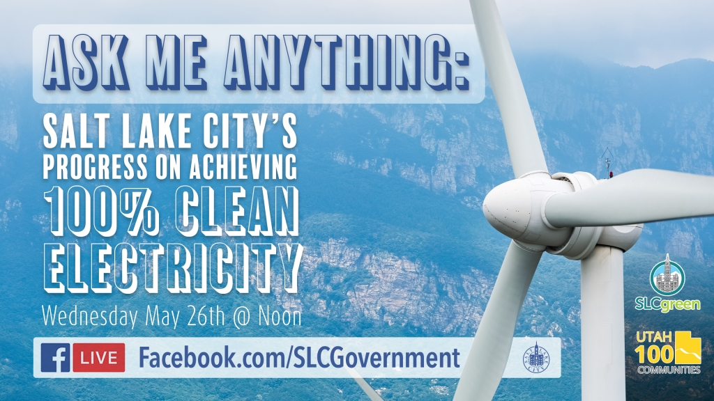 Graphic promoting upcoming Ask Me Anything Event. Shows mountains with large wind turbine.