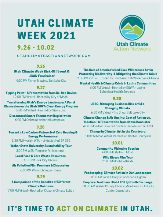 Climate Week Calendar in teal and green lettering.
